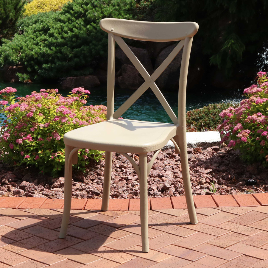 Sunnydaze Bellemead All-Weather Plastic Patio Dining Chair