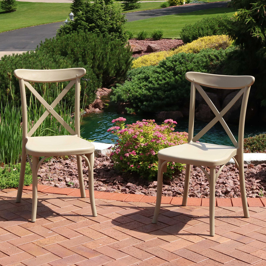 Sunnydaze Bellemead All-Weather Plastic Patio Dining Chairs