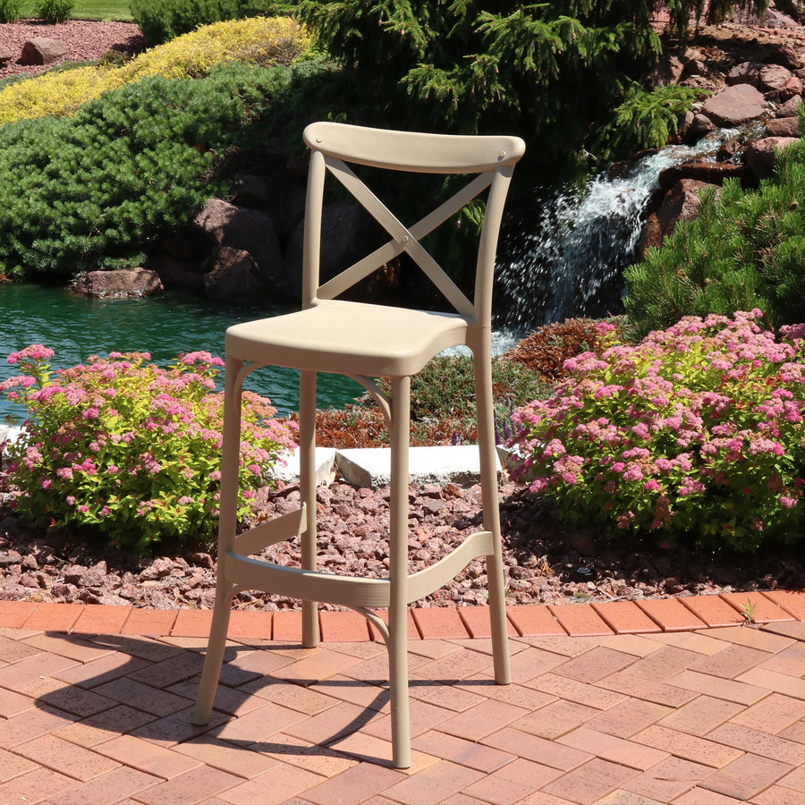 Sunnydaze Fleming All-Weather Plastic Patio Barstool Seat - Single