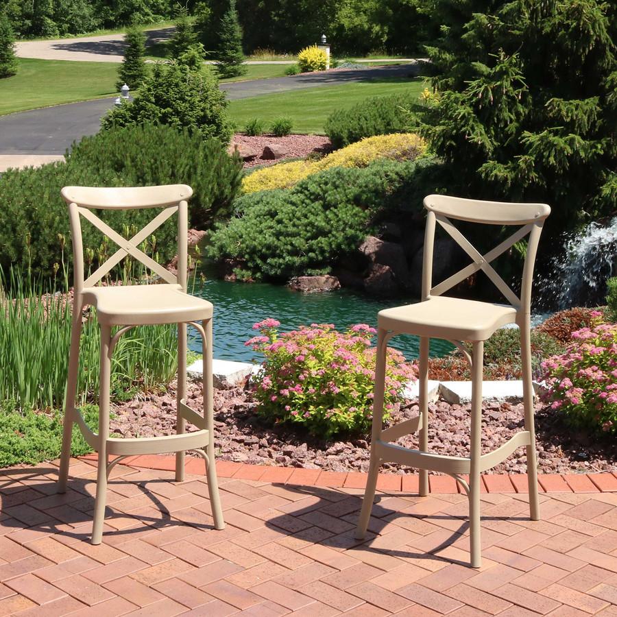 Sunnydaze Fleming All-Weather Plastic Patio Barstool Seat - Set of 2