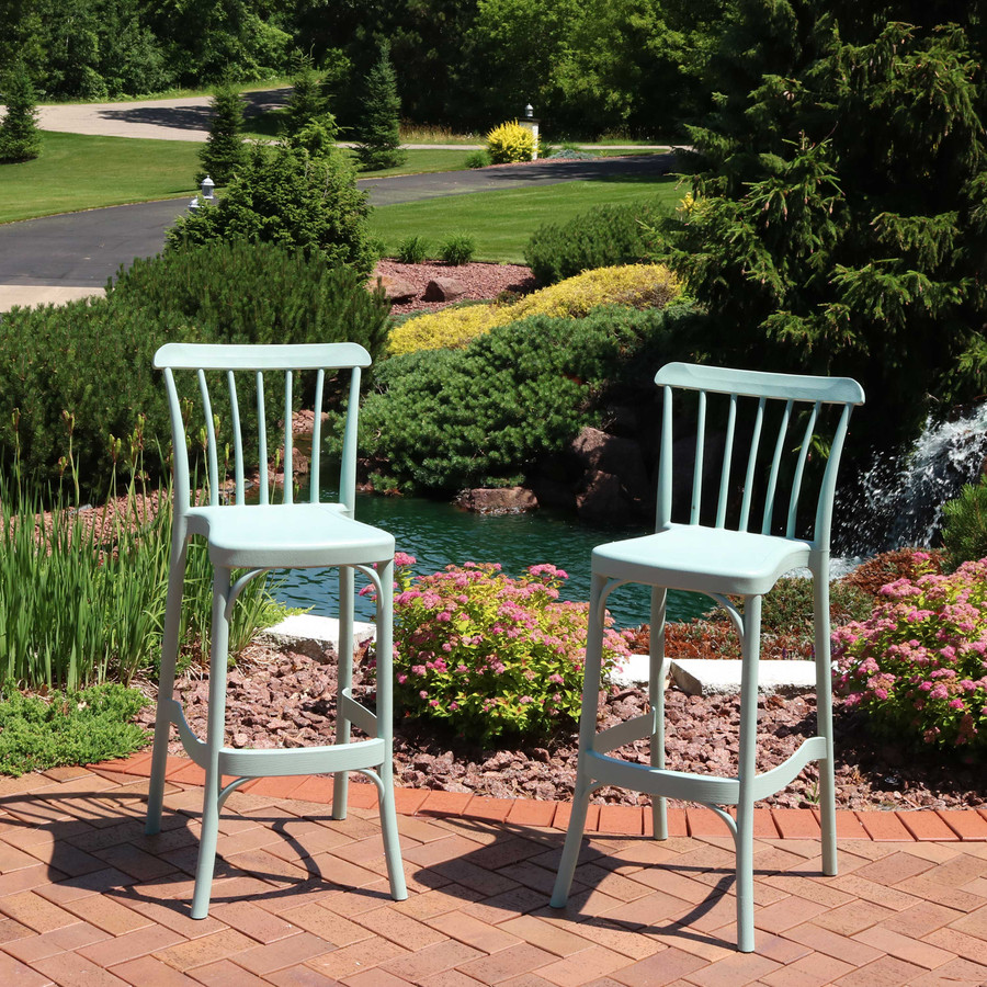 Sunnydaze Woodway All-Weather Plastic Patio Barstool Seat - Set of Two