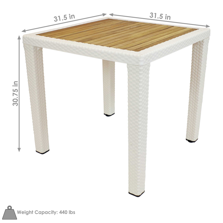 Sunnydaze Square Plastic Patio Dining Table with Faux Wicker Design - Covered Balcony or Deck, Dining Room - Cream with Wood Color Top - 32-Inch