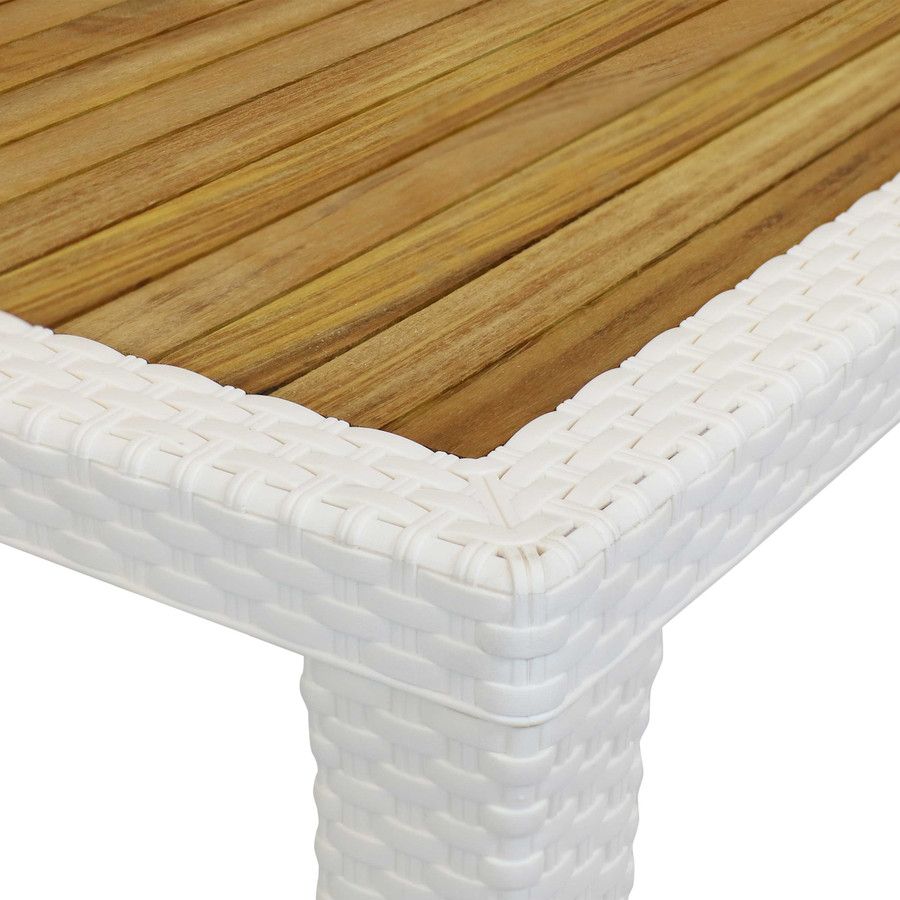 Sunnydaze All-Weather Square Plastic Patio Dining Table with Faux Wicker Design - Commercial Grade - Balcony, Deck, Dining room - Cream with Wood Color Top - 32-Inch