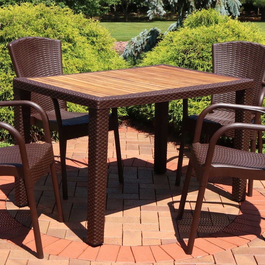 Sunnydaze Rectangular Plastic Patio Dining Table with Faux Wicker Design - Covered Balcony or Deck, Dining Room - Wenge with Wood Color Top - 48-Inch