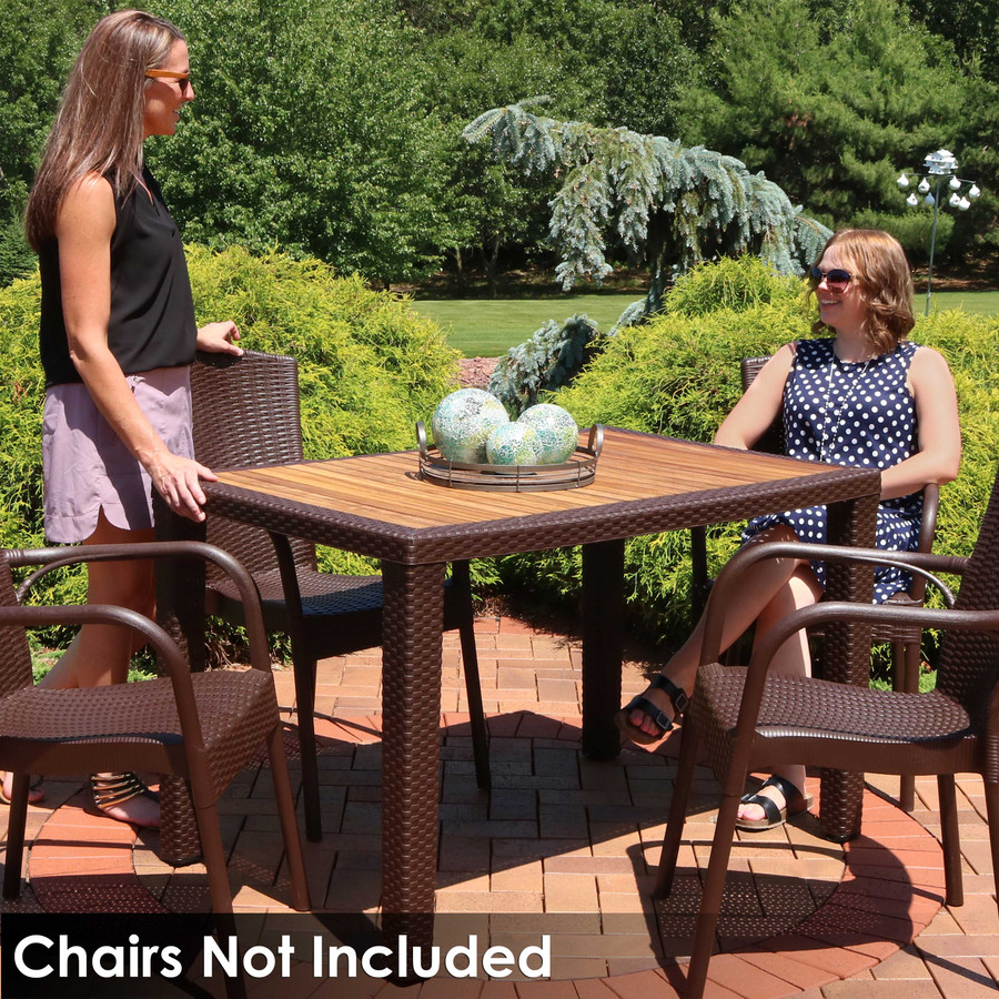 Sunnydaze All-Weather Rectangular Plastic Patio Dining Table with Faux Wicker Design - Commercial Grade - Balcony, Deck, Dining room - Wenge with Wood Color Top - 48-Inch