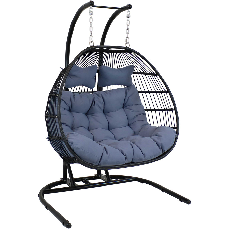 Sunnydaze Liza Loveseat Egg Chair with Gray Cushions and Stand, 78 Inches Tall
