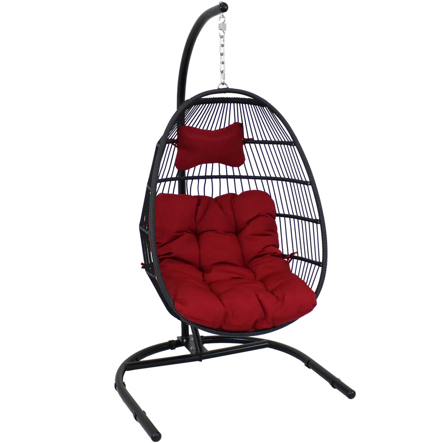 Sunnydaze Julia Hanging Egg Chair with Cushion and Stand - 76 Inches Tall - Red