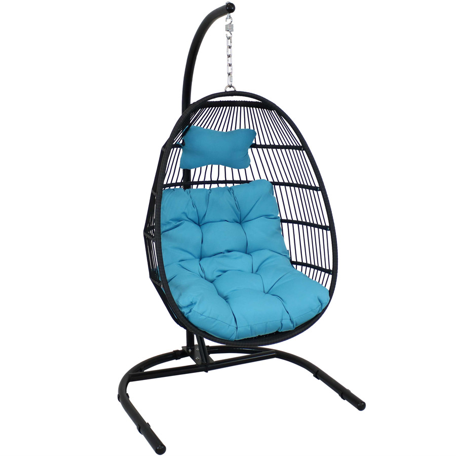Sunnydaze Julia Hanging Egg Chair with Cushion and Stand - 76 Inches Tall - Blue