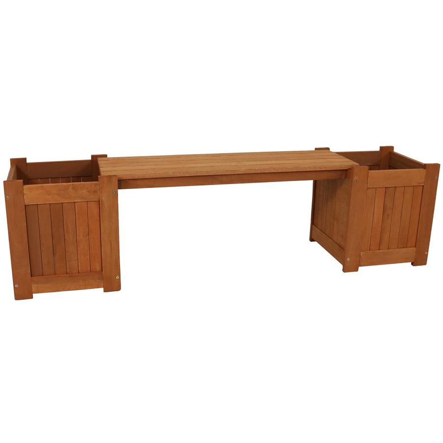Meranti Wood Outdoor Planter Box Bench