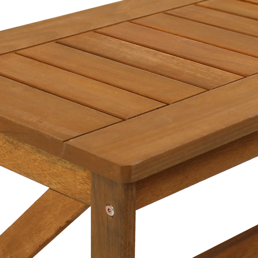 Sunnydaze Meranti Wood Outdoor Patio Coffee Table with Teak Oil Finish, 35-Inch