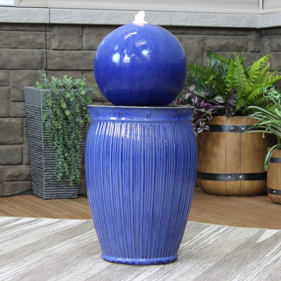 Orb on Pedestal Ceramic Outdoor Fountain