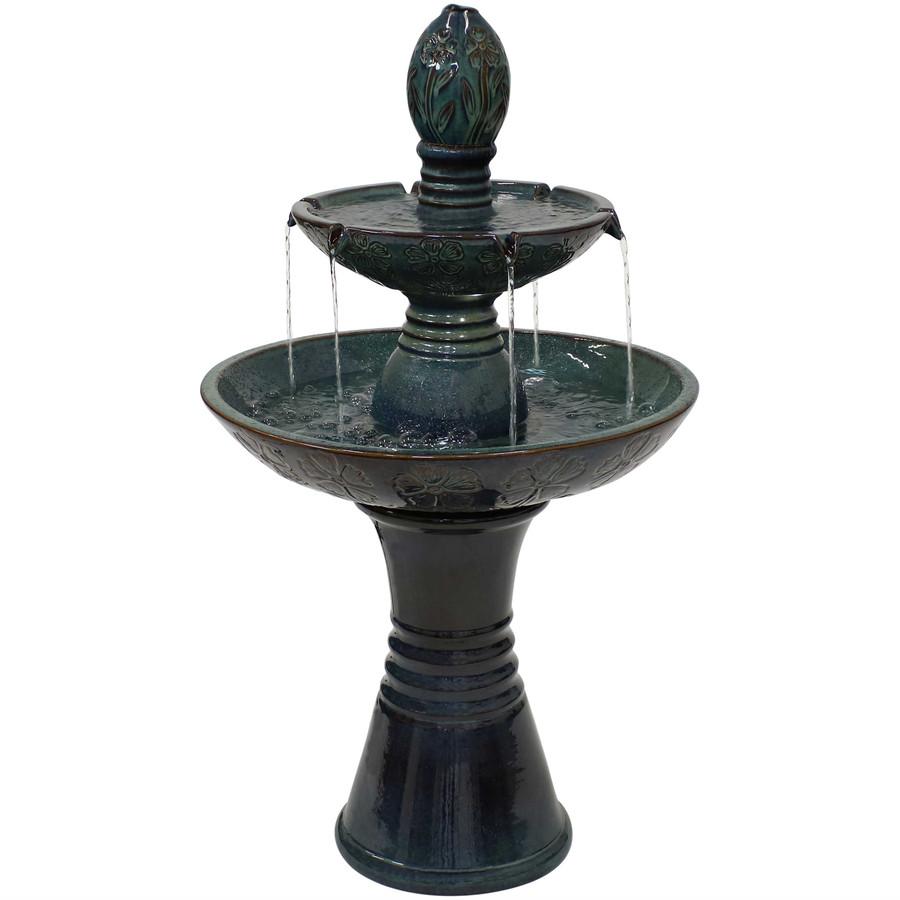 Double Tier Outdoor Ceramic Water Fountain