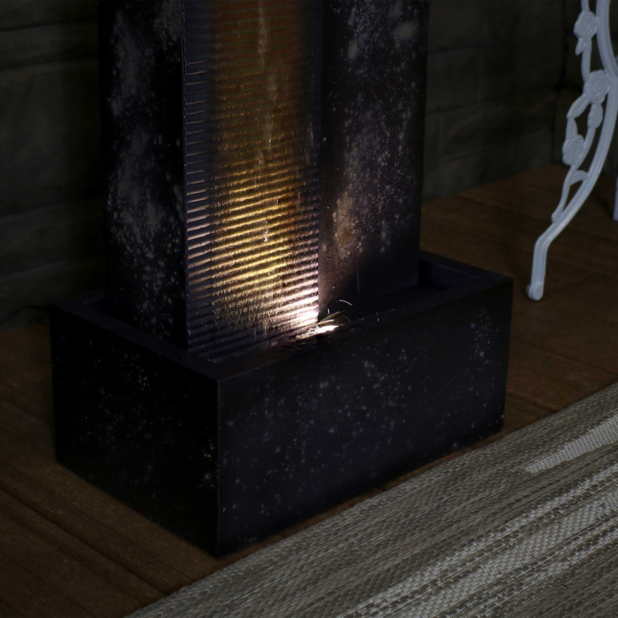 Sunnydaze Cascading Tower Outdoor Metal Fountain with LED Lights, 32-Inch