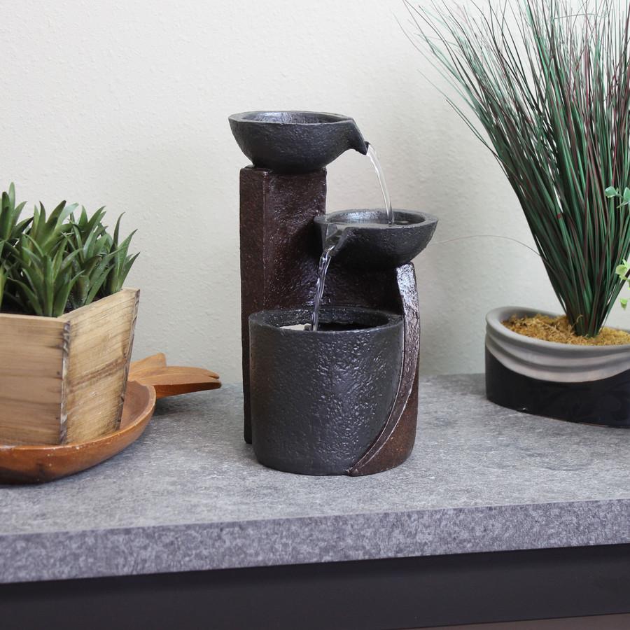 Sunnydaze Descending Bowls Indoor Tabletop Water Fountain, 9-Inch