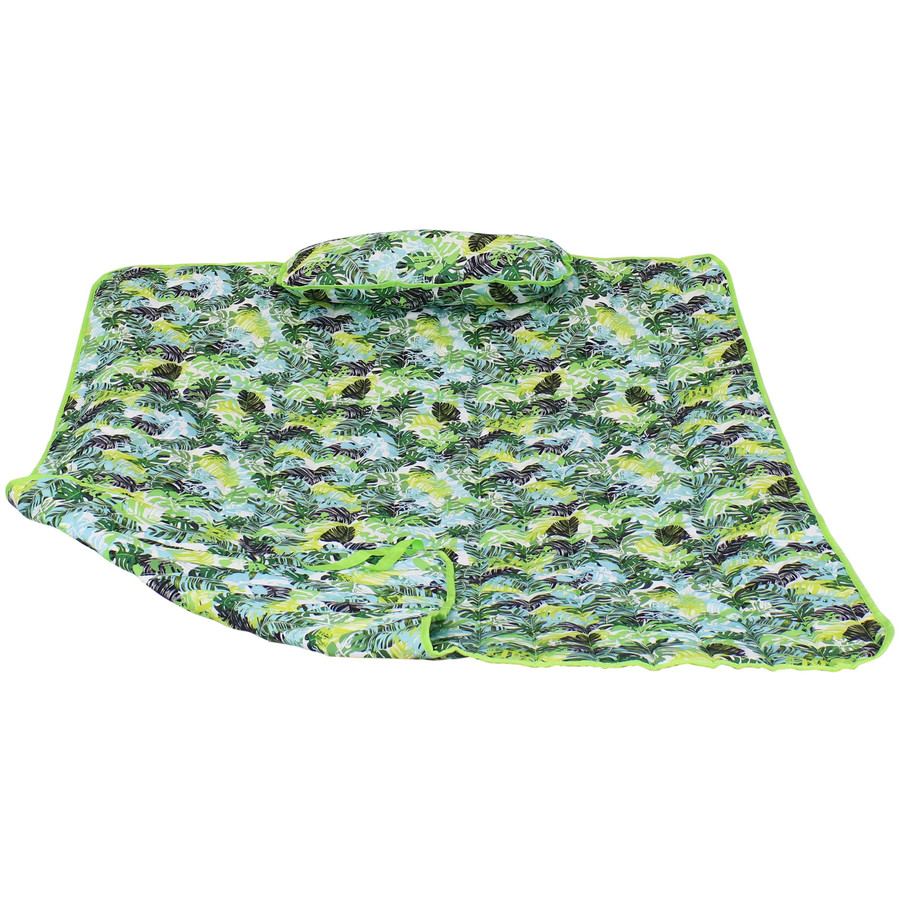 Sunnydaze Cotton Quilted Hammock Pad and Pillow - Tropical Greenery