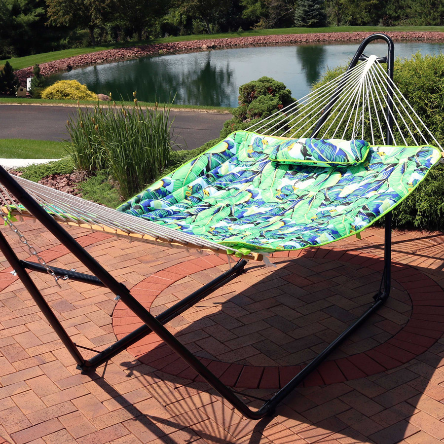 Sunnydaze Cotton Quilted Hammock Pad and Pillow - Exotic Foliage