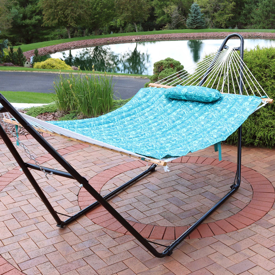 Sunnydaze Cotton Quilted Hammock Pad and Pillow - Cool Blue Tropics