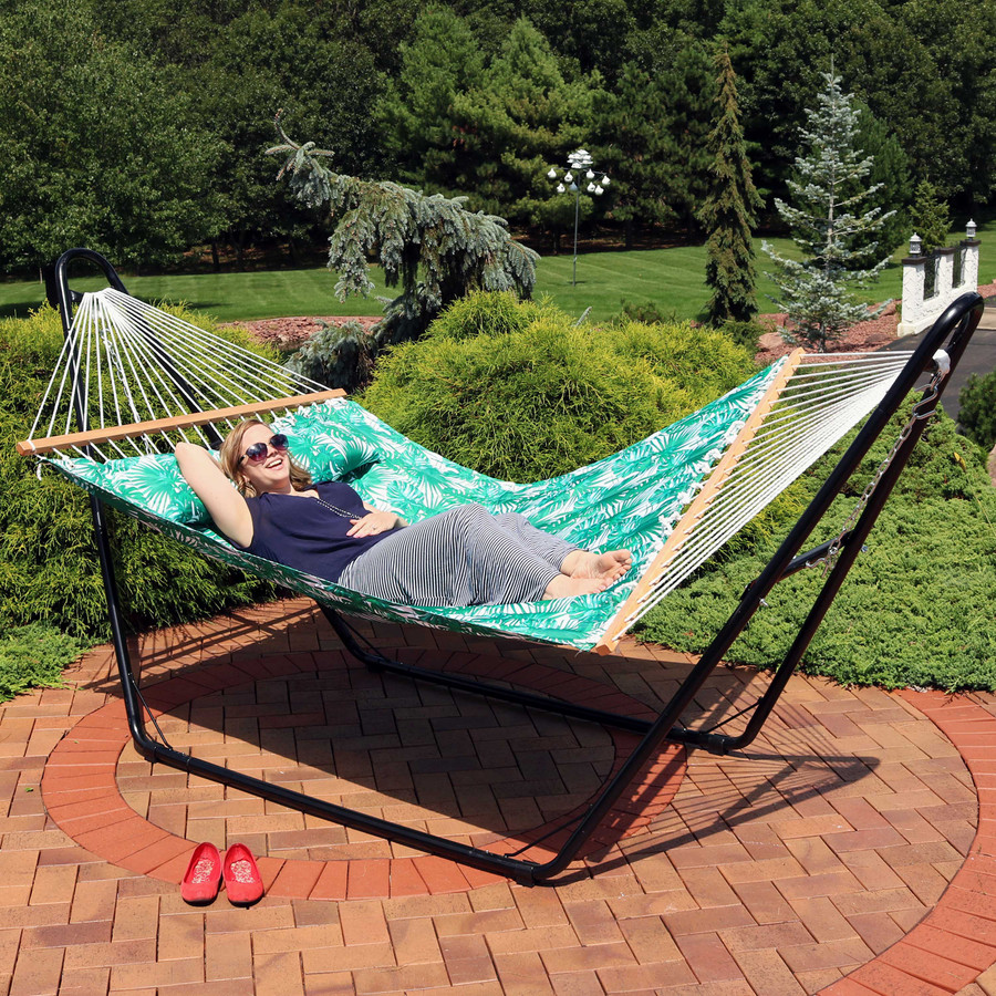 Sunnydaze 2-Person Quilted Printed Fabric Spreader Bar Hammock and Pillow - Green Palm Leaves