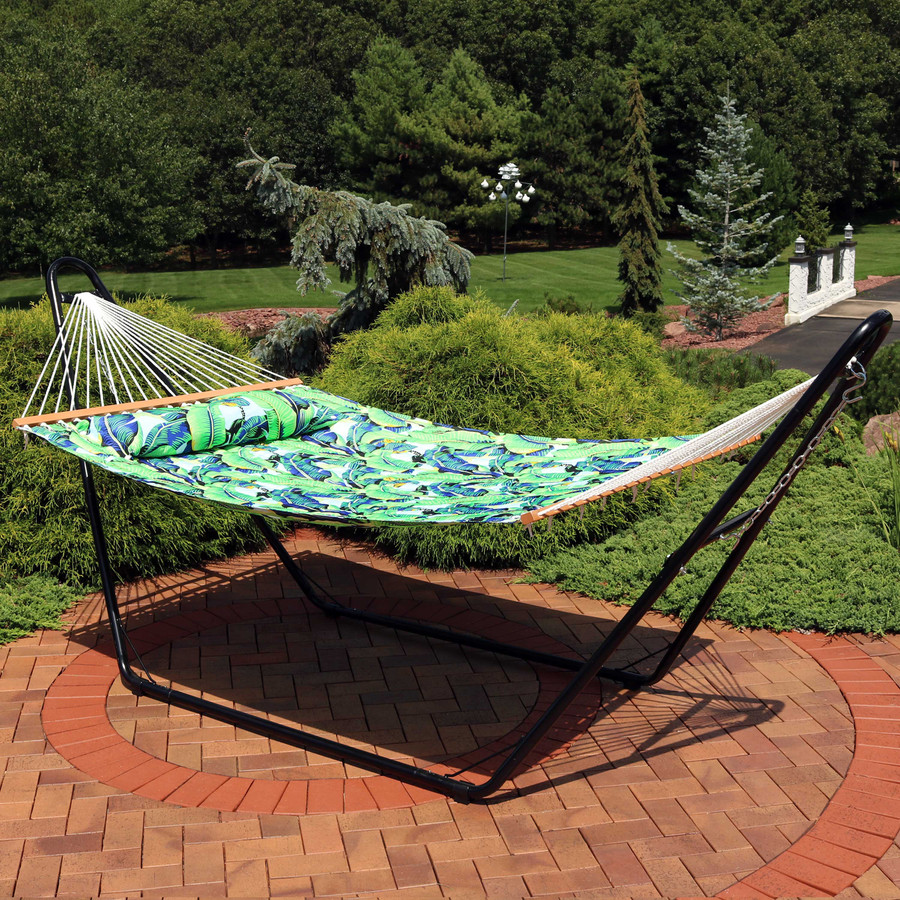 Sunnydaze 2-Person Quilted Printed Fabric Spreader Bar Hammock and Pillow - Exotic Foliage