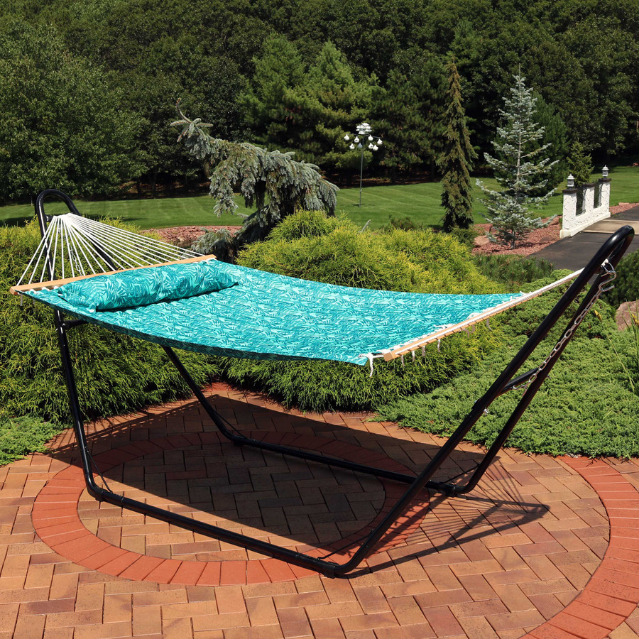 Sunnydaze 2-Person Quilted Printed Fabric Spreader Bar Hammock and Pillow - Cool Blue Tropics