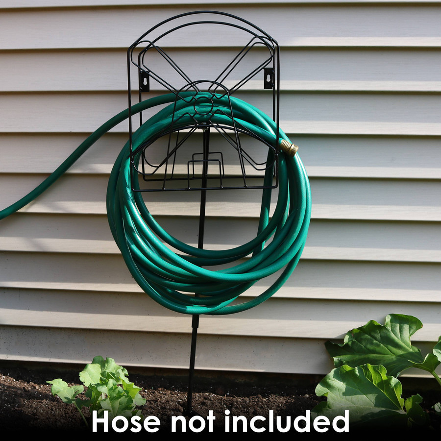 Free-Standing or Wall Mount Metal Garden Hose Stand Holder with Windmill Design
