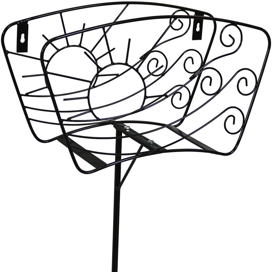 Sunnydaze Free-Standing or Wall Mount Metal Garden Hose Stand Holder with Decorative Sun and Wind Design, 43-Inch