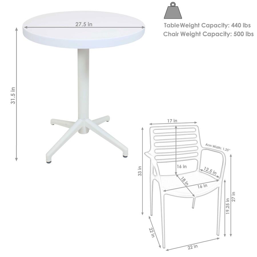 Sunnydaze All-Weather Astana 3-Piece Patio Furniture Dining Set - Commercial Grade - Indoor/Outdoor Use