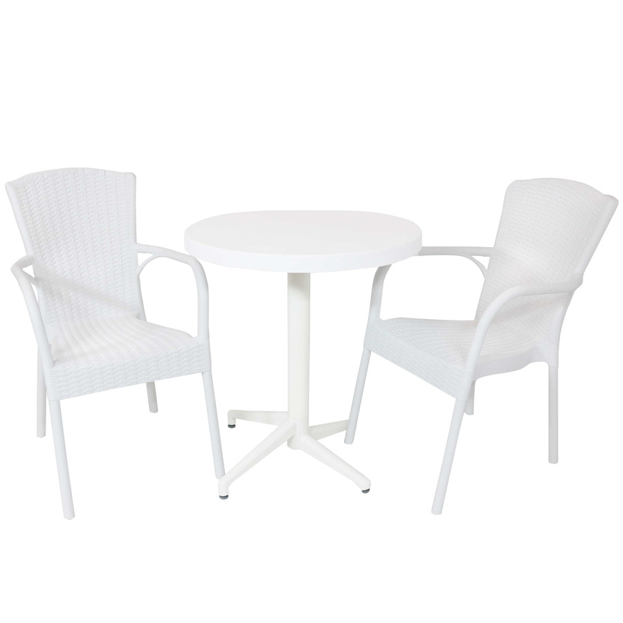 Sunnydaze All-Weather Segesta 3-Piece Patio Furniture Dining Set - Commercial Grade - Indoor/Outdoor Use - White Chairs/White Table