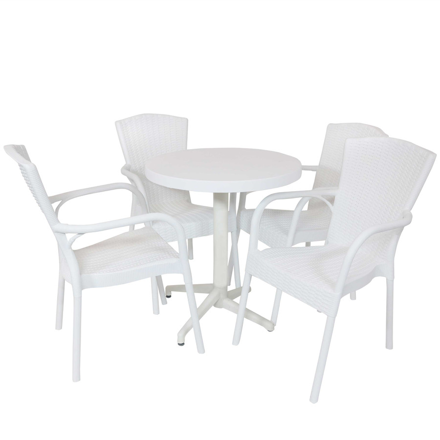Sunnydaze All-Weather Segesta 5-Piece Patio Furniture Dining Set - Commercial Grade - Indoor/Outdoor Use - White Chairs/White Table