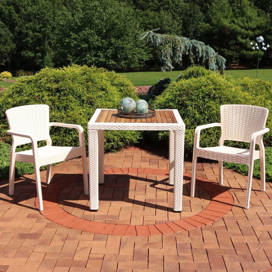 Sunnydaze All-Weather Segonia 3-Piece Patio Furniture Dining Set - Commercial Grade - Indoor/Outdoor Use - Cream