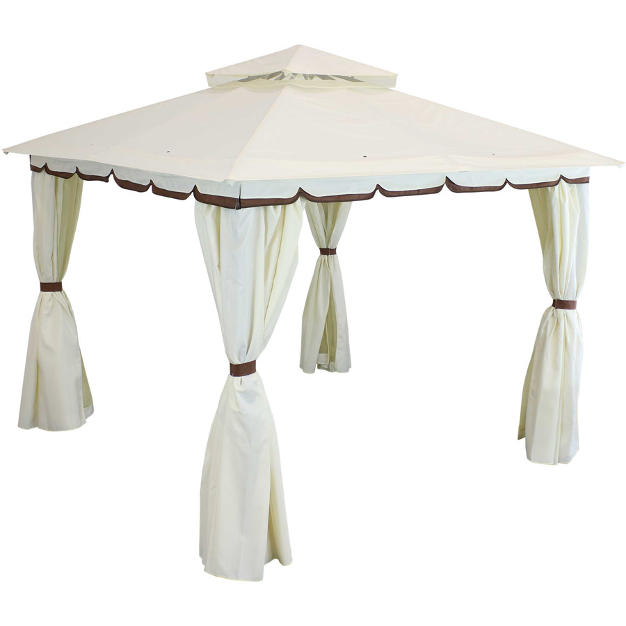 Sunnydaze 10 x 10 Foot Soft Top Patio Gazebo with Mosquito Screens and Privacy Walls - Cream
