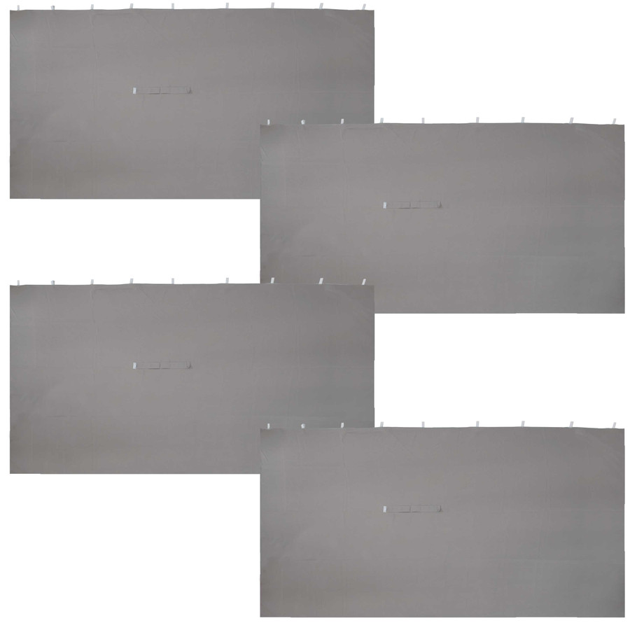 Sunnydaze 10-Foot x 13-Foot Polyester Gazebo 4-Piece Sidewall Set - Gray