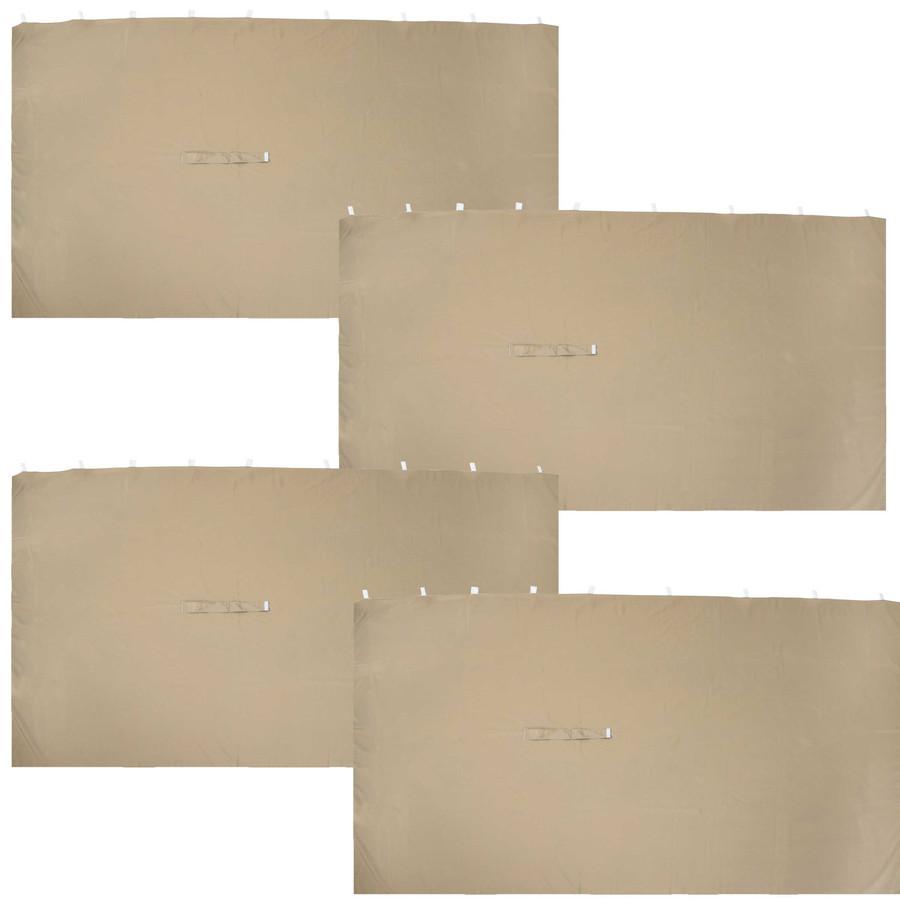 Sunnydaze 10-Foot x 13-Foot Polyester Gazebo 4-Piece Sidewall Set - Tan