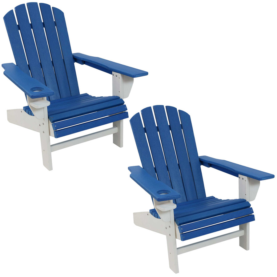 Sunnydaze All-Weather 2-Color Outdoor Adirondack Chair with Drink Holder - Blue and White - Set of 2