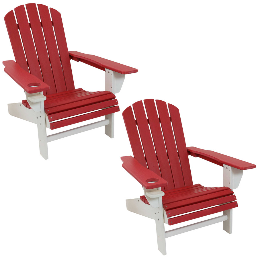 Sunnydaze All-Weather 2-Color Outdoor Adirondack Chair with Drink Holder - Red and White - Set of 2