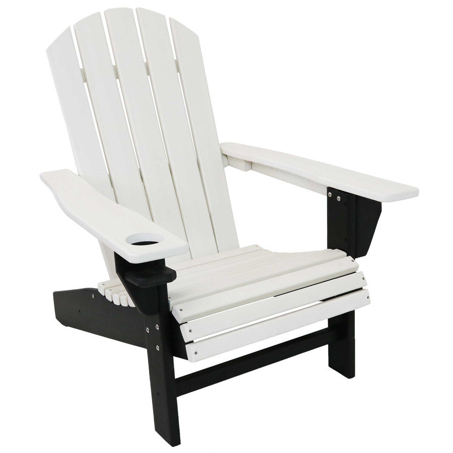 Sunnydaze All-Weather 2-Color Outdoor Adirondack Chair with Drink Holder - Black and White