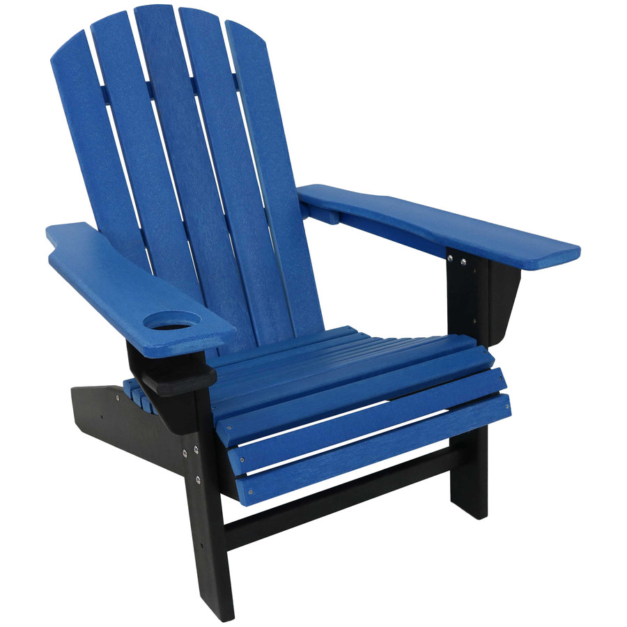 Sunnydaze All-Weather 2-Color Outdoor Adirondack Chair with Drink Holder - Blue and Black