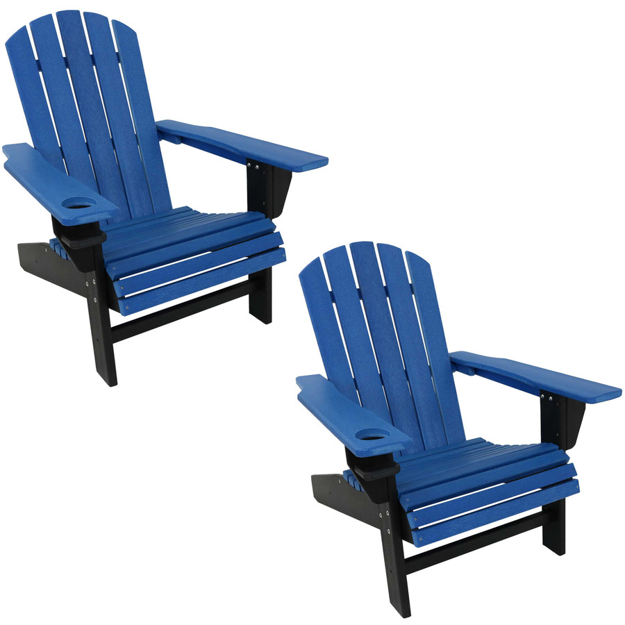 Sunnydaze All-Weather 2-Color Outdoor Adirondack Chair with Drink Holder - Blue and Black - Set of 2