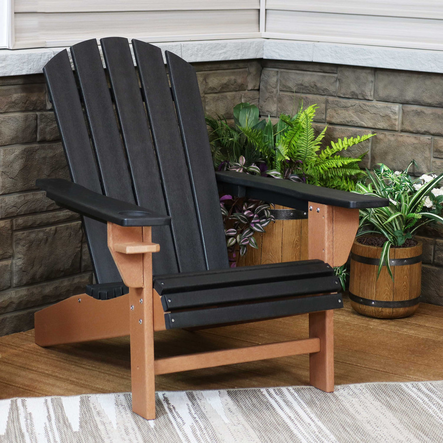 Sunnydaze All-Weather 2-Color Outdoor Adirondack Chair with Drink Holder - Black and Brown