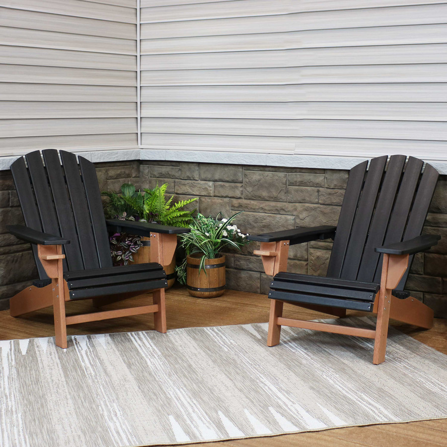 Sunnydaze All-Weather 2-Color Outdoor Adirondack Chair with Drink Holder - Black and Brown - Set of 2