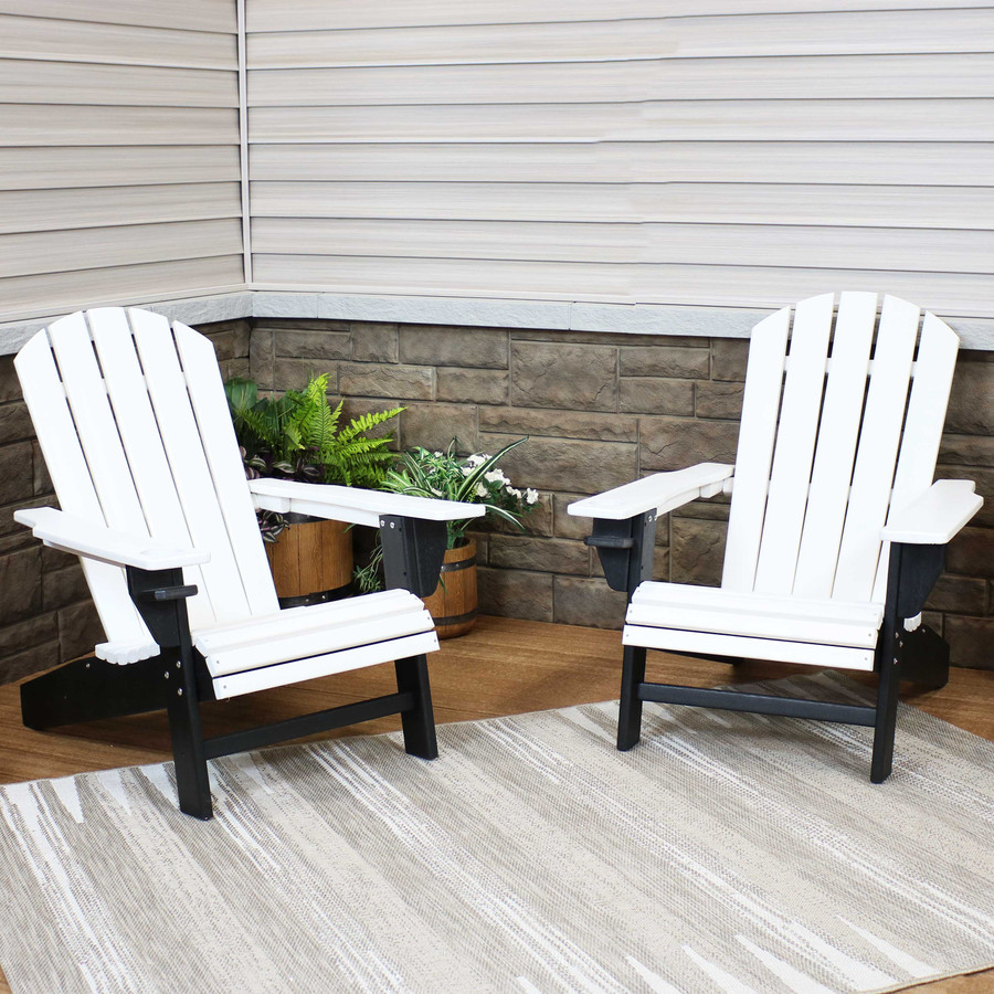 Sunnydaze All-Weather 2-Color Outdoor Adirondack Chair with Drink Holder - Black and White - Set of 2