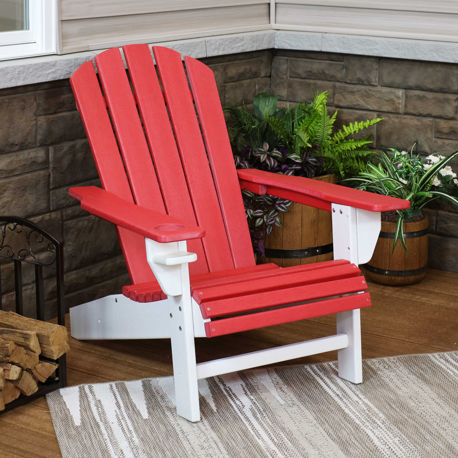 Sunnydaze All-Weather 2-Color Outdoor Adirondack Chair with Drink Holder - Red and White