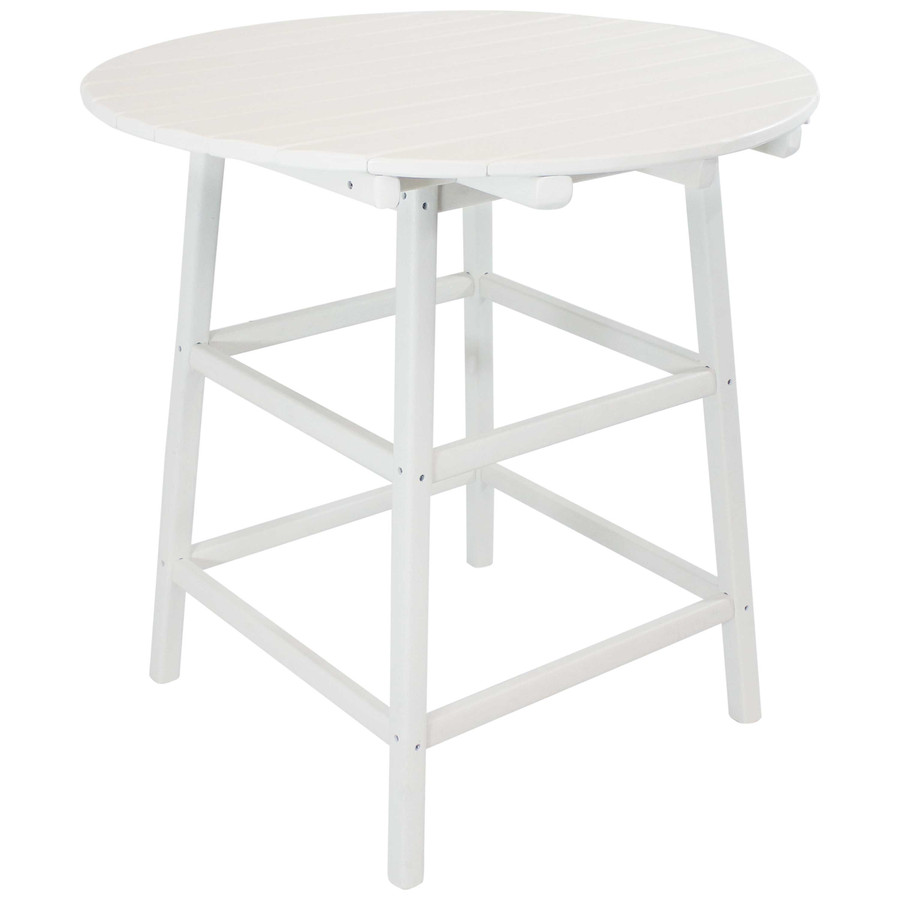 Sunnydaze All-Weather Round White Outdoor Patio Table - Adirondack Style - 39-Inch