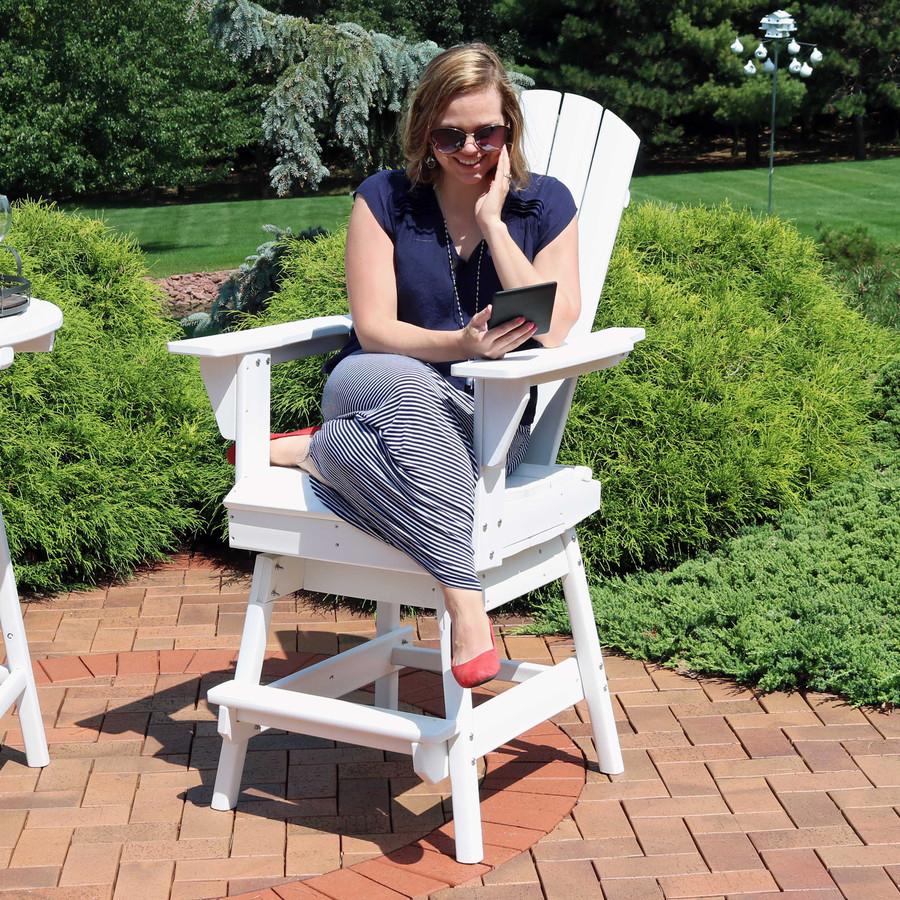 Sunnydaze All-Weather White Outdoor Balcony Adirondack Swivel Chair