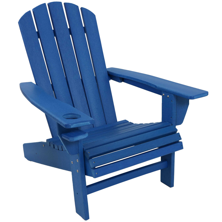 Sunnydaze All-Weather Outdoor Adirondack Chair with Drink Holder - Blue