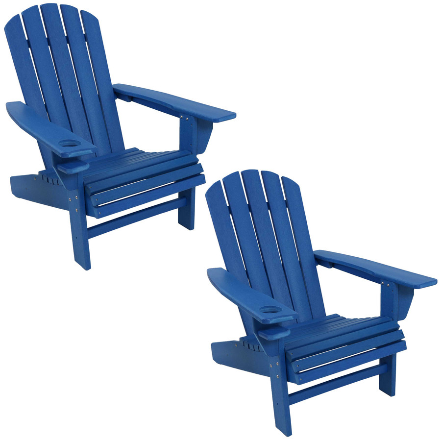 Sunnydaze All-Weather Outdoor Adirondack Chair with Drink Holder - Blue - Set of 2