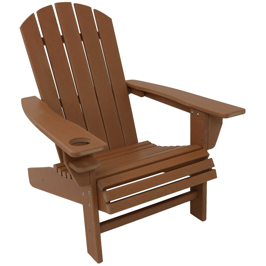 Sunnydaze All-Weather Outdoor Adirondack Chair with Drink Holder - Brown