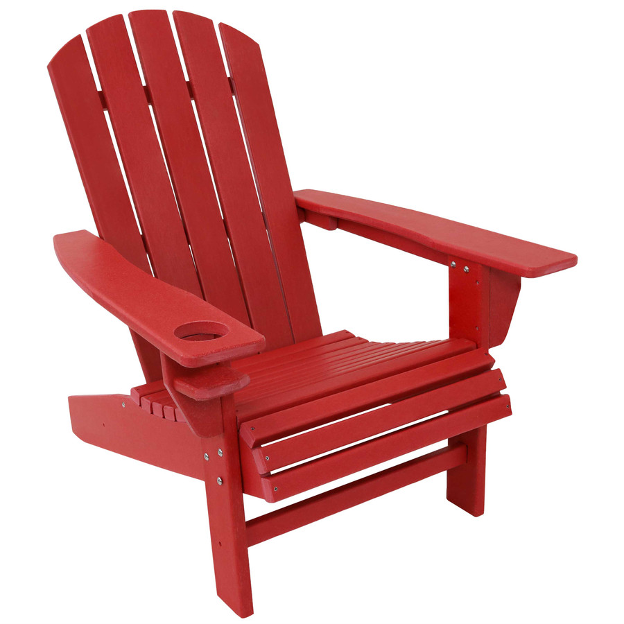Sunnydaze All-Weather Outdoor Adirondack Chair with Drink Holder - Red