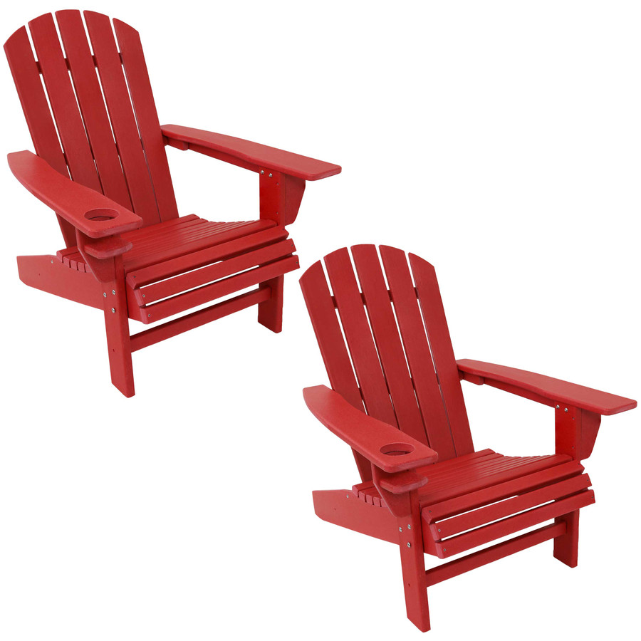 Sunnydaze All-Weather Outdoor Adirondack Chair with Drink Holder - Red - Set of 2