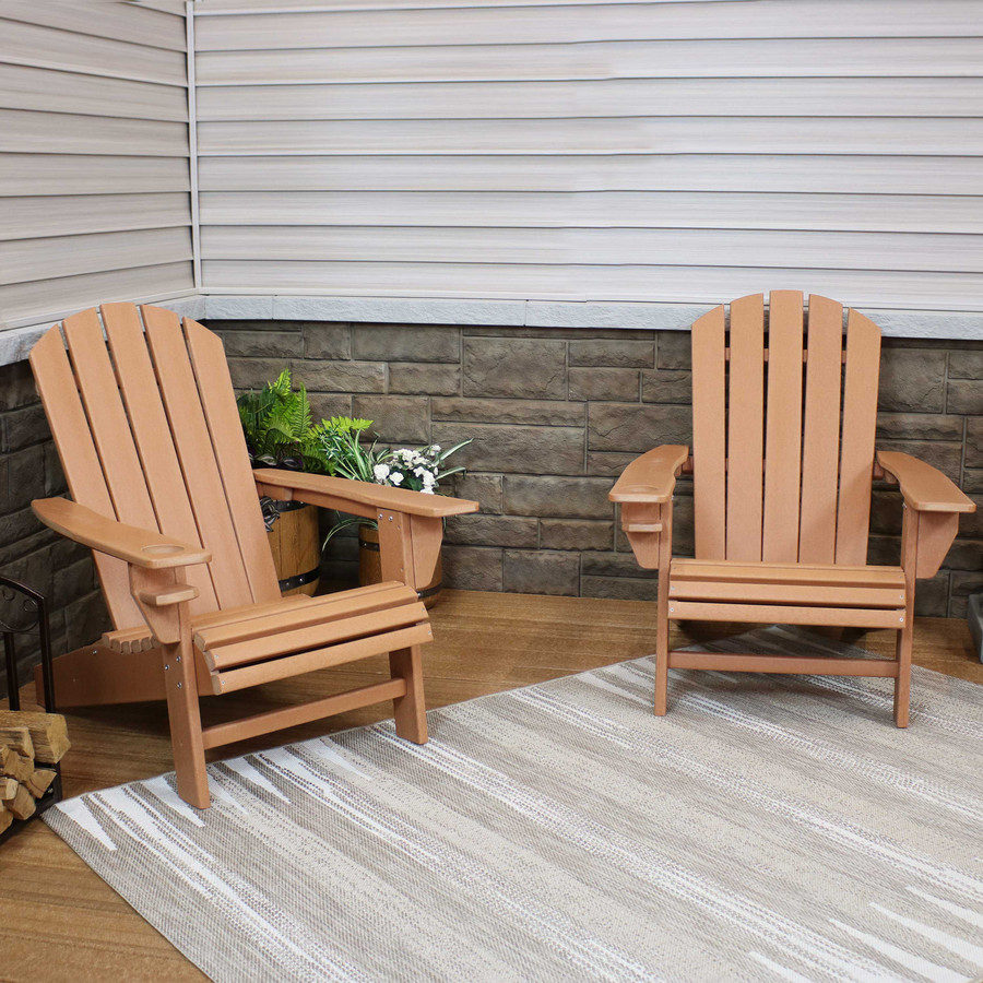 Sunnydaze All-Weather Outdoor Adirondack Chair with Drink Holder - Brown - Set of 2